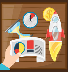Colorful hand and icons of digital marketing vector