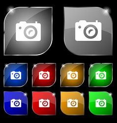 Digital photo camera icon sign Set of ten colorful vector image vector image