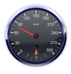 Car speedometer in kilometers vector image