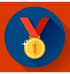 Gold medal icon - first place Flat design style vector image vector image