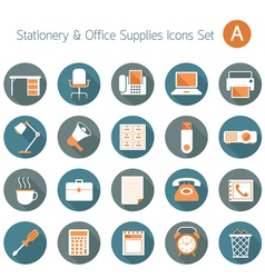 Office Supplies and Stationery Flat Icons Set vector image