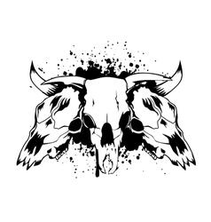 Skull bull 3 vector