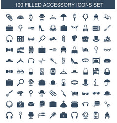 100 accessory icons vector