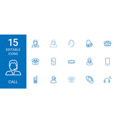 15 call icons vector