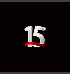 15 years anniversary celebration number black vector