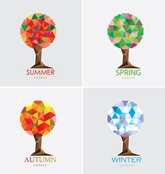 3d origami low polygon trees vector