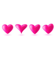 3d pink heart icon set valentines day card vector image