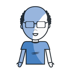 Adult man with glasses and shirt casual cloth vector