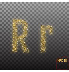 Alphabet gold letter r on transparent background vector