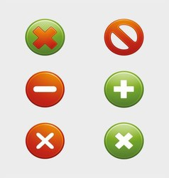 Approved and Rejected Cancel Button False and Righ vector image