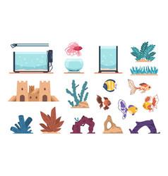 Aquarium elements cartoon water glass tank for vector