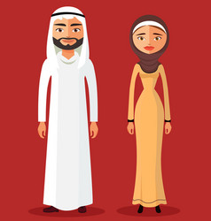 Arab muslim couple man and woman standing vector