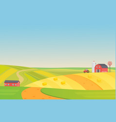 autumn sunny eco harvesting farm landscape with vector image
