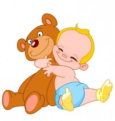 Baby hug bear vector