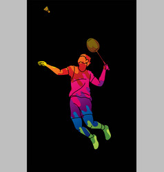 Badminton male player action with racket vector