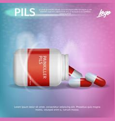 Banner advertisement packaging painkiller pils vector