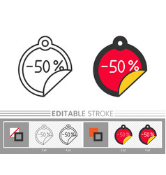 banner sticker sale line icon color tag vector image