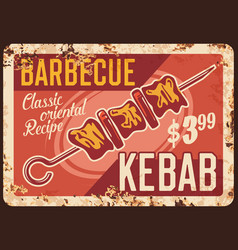 Barbecue kebab rusty metal plate with meat vector