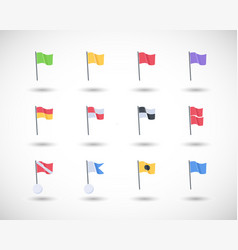 Beach warning flags icons set vector