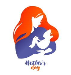 Beautiful mother silhouette with baby logo on vector
