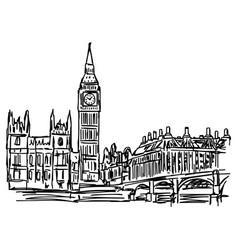 Big ben and westminster bridge in london vector