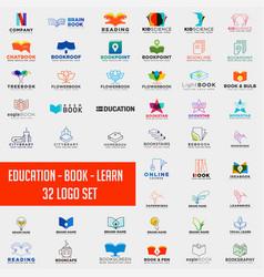 book education logo collection design vector image
