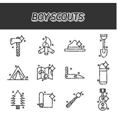 Boy scouts concept icons vector