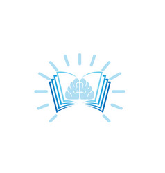 bright brain in book for logo design vector image