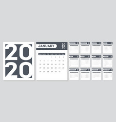 calendar template for 2020 year week starts from vector image