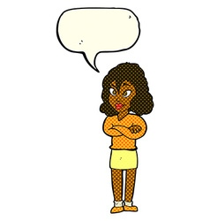 Cartoon woman with crossed arms with speech bubble vector