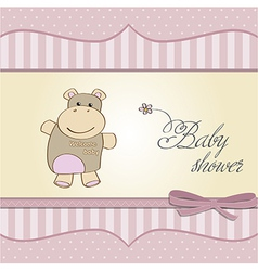 Childish bagirl announcement card with hippo vector