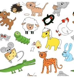 Childrens drawings seamless pattern with animals vector