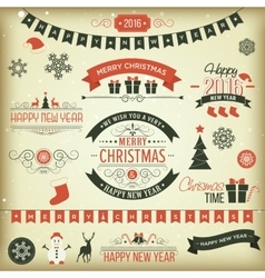 Christmas set labels emblems vector image