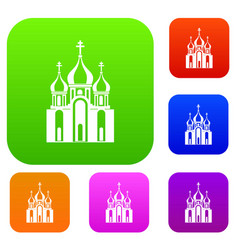 church building set collection vector image