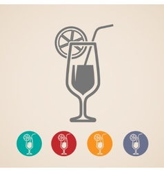 Cocktail glass icons vector