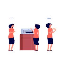 coffee break woman recharged energy energetic vector image
