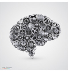 cogs in the shape of a human brain vector image vector image