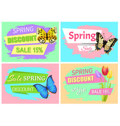 Collection of spring sale advertisement springtime vector