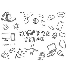 Computer science engineering education doodle art vector