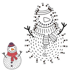 Connect the dots and draw a funny snowman vector