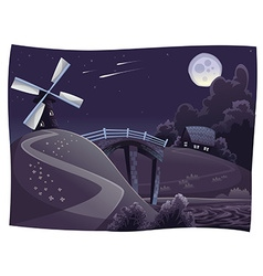 Countryside with windmill in the night vector