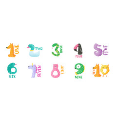 cute animal numbers from 1 to 9 stickers vector image