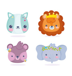 cute animals little cat lion elephant and bear vector image