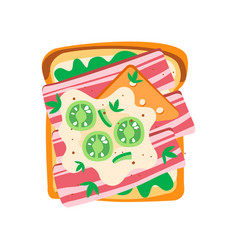Delicious toasted bread with green salad vector