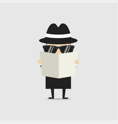 Detective spying through newspaper vector