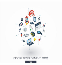 development integrated 3d web icons digital vector image