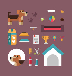 dog stuff icons flat set for pet shop domestic vector image