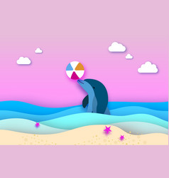 Dolphin and beach ball in sea in paper cut vector