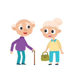 European old people in bright clothes isolated on vector