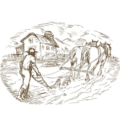 Farmer and horse plowing the field with barn vector image